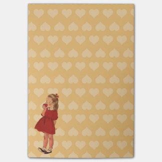 Vintage Little Girl Red Dress Apple Post-it Notes