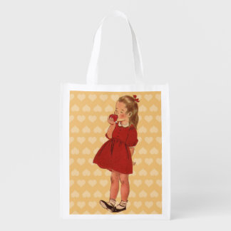 Vintage Little Girl Red Dress Apple Reusable Grocery Bag