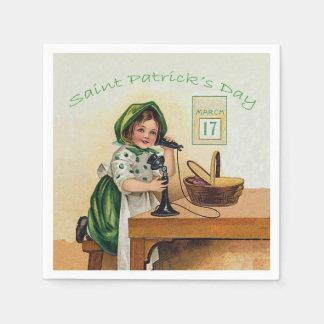 Vintage Little Girl St. Patrick's Day Standard Cocktail Napkin