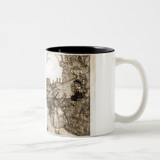 Vintage little girl Two-Tone coffee mug