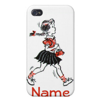 Vintage Little Girl Walking With Purse iPhone 4 Cases