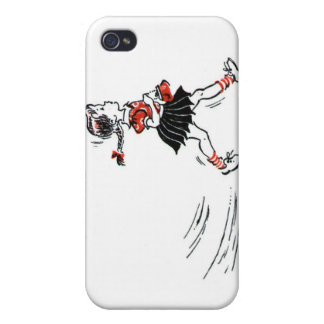 Vintage Little Girl Walking With Purse Cover For iPhone 4