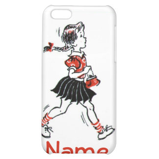 Vintage Little Girl Walking With Purse Case For iPhone 5C