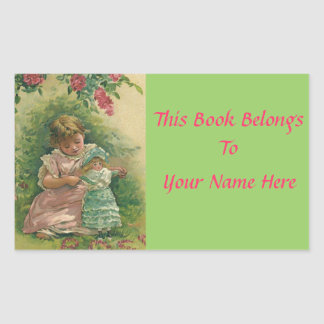 Vintage Little Girl with Baby Doll Book Name Plate Sticker