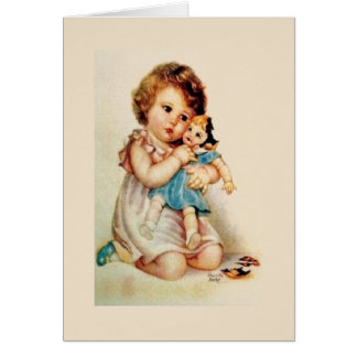 Vintage Little Girl with Broken Doll Note Card