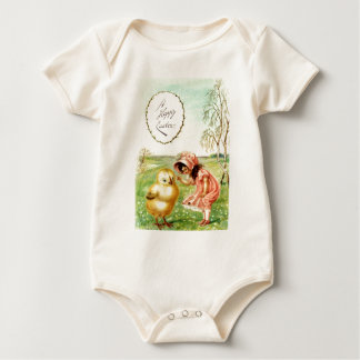 Vintage Little Girl With Chick Easter Card Baby Bodysuit