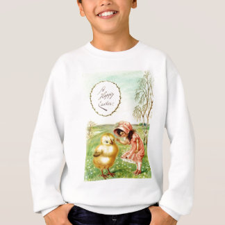 Vintage Little Girl With Chick Easter Card Sweatshirt