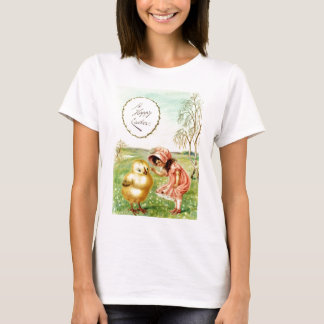 Vintage Little Girl With Chick Easter Card T-Shirt
