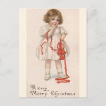 Vintage Little Girl With Christmas Ribbon Holiday Postcard