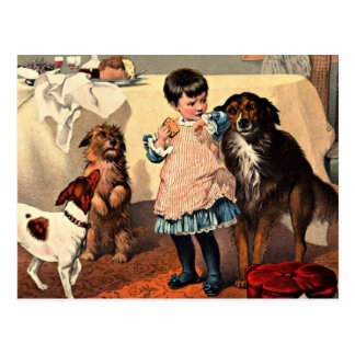 Vintage - Little Girl with Dogs Postcard