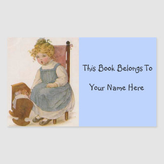 Vintage Little Girl with Doll Book Name Plate Rectangle Sticker