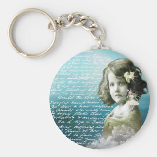 Vintage little girl with guardian angel keychain