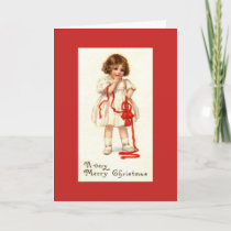 Vintage - Little Girl with Red Bells, Card