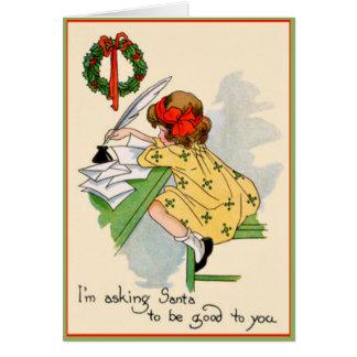 Vintage Little Girl Writing Santa a Letter Card