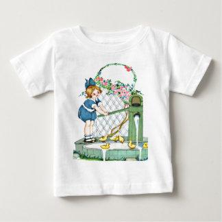 Vintage little girl, yellow chicks, ducks baby T-Shirt