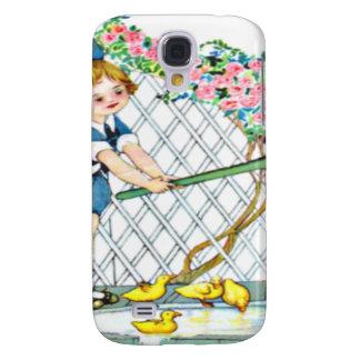 Vintage little girl, yellow chicks, ducks galaxy s4 cases