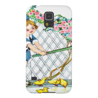 Vintage little girl, yellow chicks, ducks galaxy s5 covers
