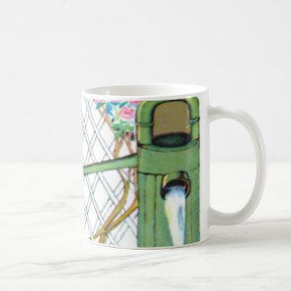 Vintage little girl, yellow chicks, ducks coffee mug