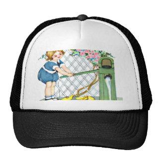 Vintage little girl, yellow chicks, ducks trucker hat