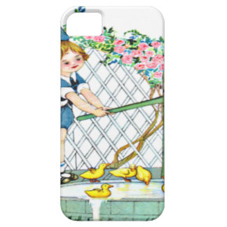Vintage little girl, yellow chicks, ducks iPhone SE/5/5s case