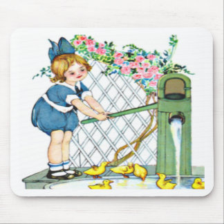 Vintage little girl, yellow chicks, ducks mouse pad
