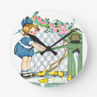 Vintage little girl, yellow chicks, ducks round clock