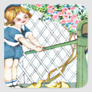 Vintage little girl, yellow chicks, ducks square sticker