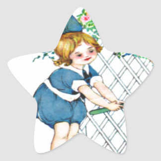 Vintage little girl, yellow chicks, ducks star sticker