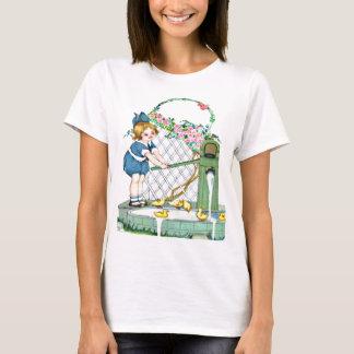 Vintage little girl, yellow chicks, ducks T-Shirt