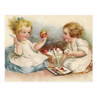 Vintage Little Girls Coloring Easter Eggs Postcard