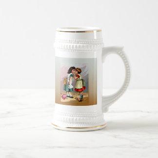 Vintage Little Girls Doll Quarrel Beer Stein