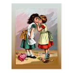 Vintage Little Girls Doll Quarrel Postcards