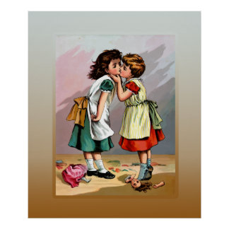 Vintage Little Girls Doll Quarrel Poster