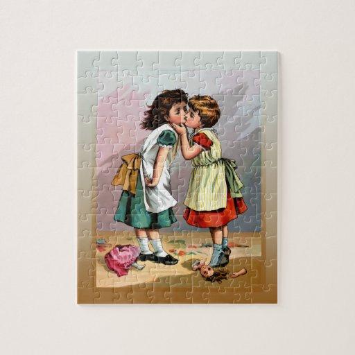 Vintage Little Girls Doll Quarrel Puzzle