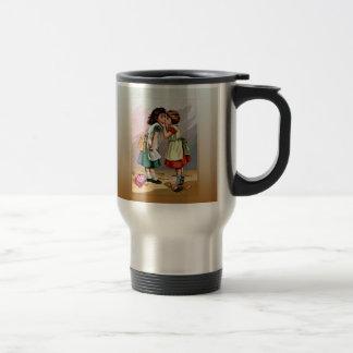 Vintage Little Girls Doll Quarrel Travel Mug