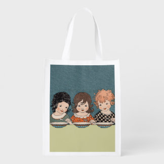Vintage Little Girls Eating Soup Three Sisters Grocery Bag