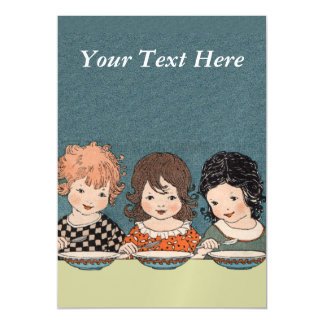 Vintage Little Girls Eating Soup Three Sisters Magnetic Card