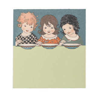 Vintage Little Girls Eating Soup Three Sisters Notepad
