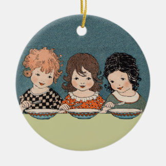 Vintage Little Girls Eating Soup Three Sisters Double-Sided Ceramic Round Christmas Ornament