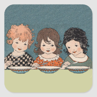 Vintage Little Girls Eating Soup Three Sisters Square Sticker