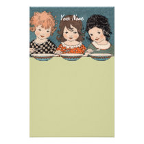 Vintage Little Girls Eating Soup Three Sisters Stationery