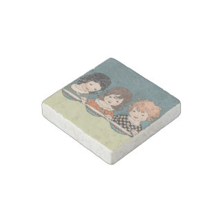 Vintage Little Girls Eating Soup Three Sisters Stone Magnet