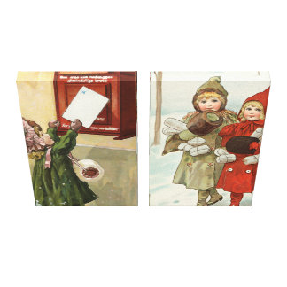 Vintage little girls with parcels and letters canvas print