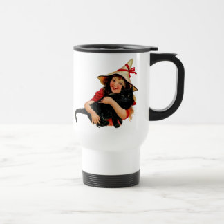 Vintage Little Halloween Witch and Cat Travel Mug