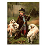 Vintage Little Hunter with Spaniels Image Postcard