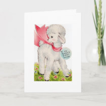Vintage Little Lamb for Baby's First Easter, Holiday Card