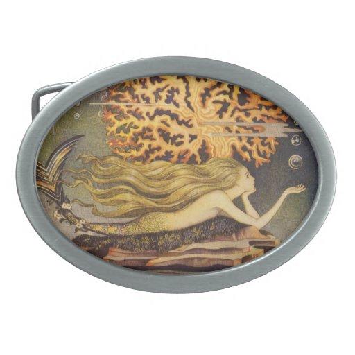 Vintage Little Mermaid Ocean Coral Fairy Tale Belt Buckle