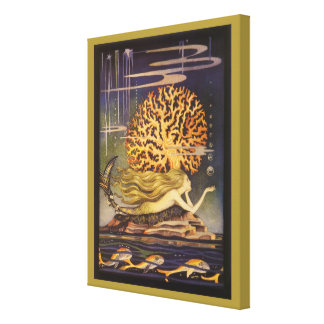 Vintage Little Mermaid Ocean Coral Fairy Tale Stretched Canvas Print