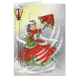 Vintage Little Miss Christmas Card