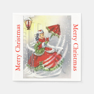 Vintage Little Miss Christmas Napkin